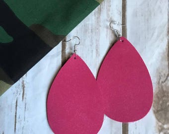 Hot Pink Suede Teardrop Leather Earrings