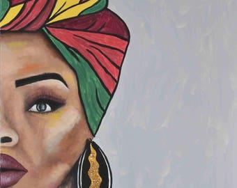 Natural Black Woman Headwrap Custom Canvas Painting Art