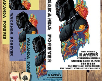 Wakanda Forever, Black Panther Invitation, Black Panther Party, Birthday Invitation, Black Panther Printable, Okoye, Dora Milaje, Superhero