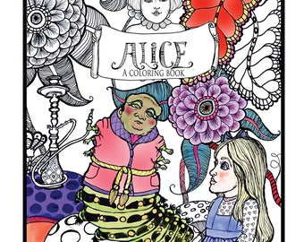 Digital Coloring Book, Alice, Hand drawn, pen and ink illustrations by artist Sande Jones-Elkins