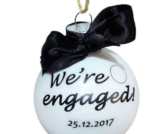 We're Engaged - Personalised Glass Bauble