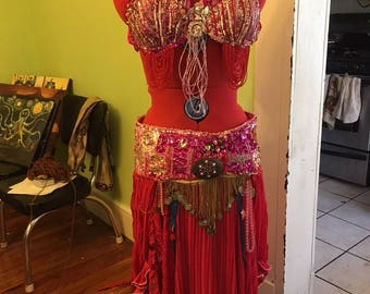 Pink Panther Professional Bellydance Costume, Bellydance Bedlah, Belly Dance Costume, Bedlah