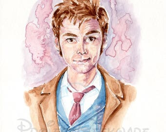 Original Doctor Who Tenth Doctor (David Tennant) Watercolor Painting