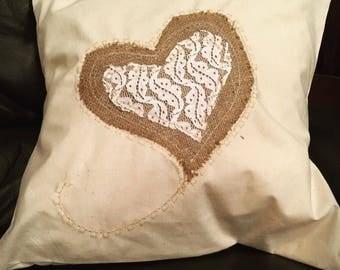 Hessian and lace cushion