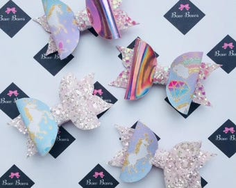 Mini Unicorn Hair bows with Holographic Pink Glitter