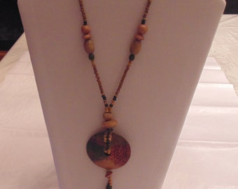 Long Wooden Beaded Necklace