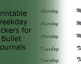 Weekday Stickers for Bullet Journals - Printable