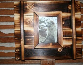 Rustic burnt wood frames