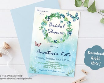 Blue and Green Bridal Shower Invitations, Bridal Shower Invitation Template, Butterfly Bridal Shower Invitation, Editable Printable Invites