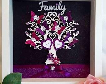 Personalised Family Tree Box Frame, Family Tree Frame, Family Tree Gift, Glitter Family Tree, Glitter Family Frame, Glitter Box Frame