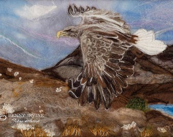 Mystery. A6 Greeting Card. Eagle, felt, fibre