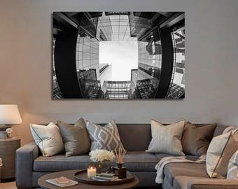 Charlotte North Carolina NC Skyline 3 Panel Split Triptych Canvas Print Black and White Skyline Cityscape for Wall Decor