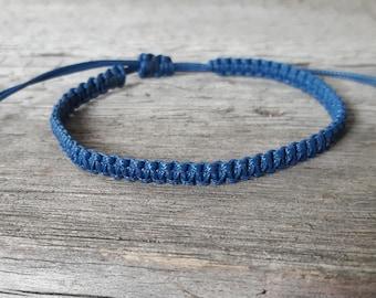 Macrame Bracelet Men's String Bracelet Navy Blue Bracelet Custom Mens bracelet Surf Bracelet Mens jewelry Friendship Bracelet for Men gift