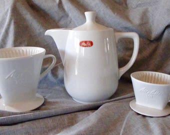 Vintage Melitta Porcelain Coffee Pot / Filter Set