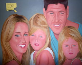 Steven Gerrard and Family. 30 x 40 inch Acrylic on Canvas Painting