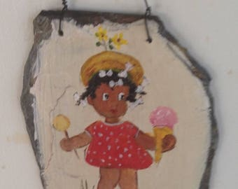 Painted slate little girl with ice cream and lollipop