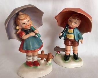 "Vintage pair of ""Hummel style"" porcelain figurines (Japan) ~ RAINY DAY"