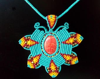 Macrame necklace with hippie red coral, Indian