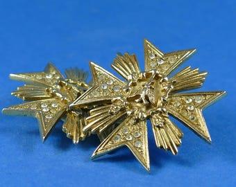 BUTLER & WILSON Earrings - Vintage Costume Jewellery Clip On Ear Rings - 1980's Gilt Diamante Medal Cross