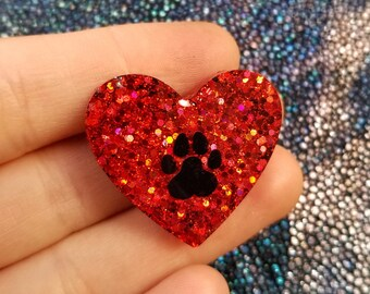 Holographic Paw Heart Pin