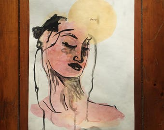 They - Watercolor Woman with Yellow Moon