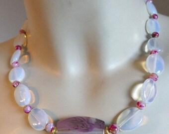 Elf charm, necklace, opalit, Opalit, necklace, roses, dirndl, unique