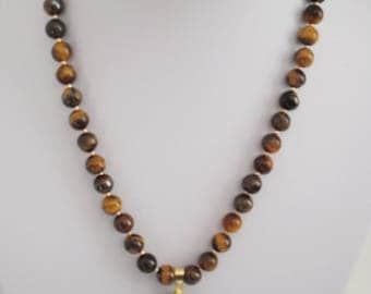 Tigers Eye Beaded Pendant Necklace