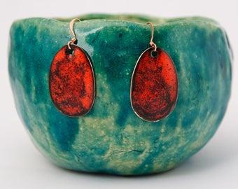 Red teardrop earrings Tiny red enamel drops Red jewelry Minimalist earrings Women gift ideas Egg enameled earings