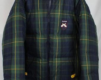 Vintage 90's Tommy Hilfiger Plaid Crest Reversible Puffy Coat Sz XL