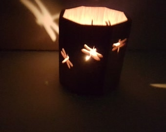 Wooden Candle Box, Octagon - Dragonflies