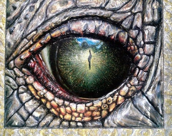 "Painting 20x28 ""Dragon Lizard's Eye"" Acrylic Original 3D View Сolorful Silver Nacre"