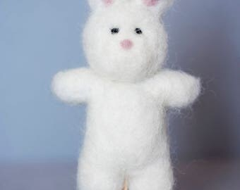 Needle Felted White Rabbit Lovey for Newborn Photography