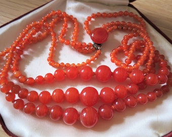 Beautiful vintage three strand carnelian necklace with decorative clasp