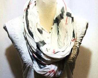 white designer strips scarf | summer collection | light weight | hand woven