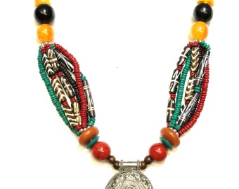 Multi color tribal styled trendy pendent beaded necklace