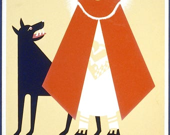 Once Upon A Time - graphic vintage poster reproduction featuring Red Riding Hood - available A4, A3 and A2 - free postage in Australia