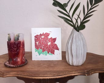 Poinsettia- Handmade Block Print, Original Art, Design