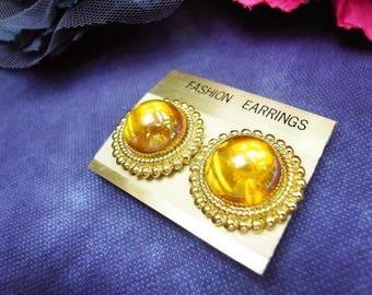 Fiber Street VINTAGE! classic 90s beautiful metal ART! gold tone yellow details vintage earrings/lovely & gorgeous/high sense!