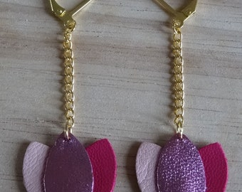 Pink leather lotus earrings