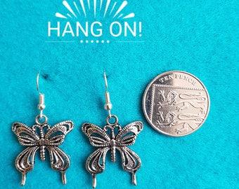 Handmade Tibetan Silver Butterfly Earrings
