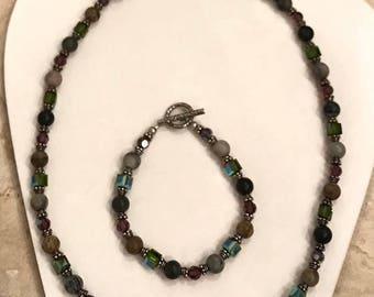 Beaded bracelet and necklace set
