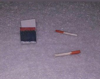 Dollhouse cigarettes and book of matches set