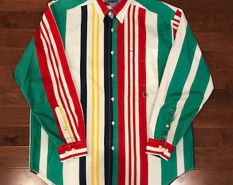Tommy Hilfiger 1990's Multi-Color Striped Button-Up Shirt