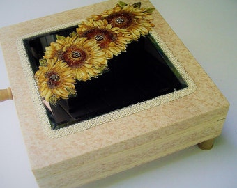 Sunflower design recycled box, dresser decor, mirrored top with flowers, beaded, added feet