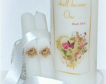 And the two shall become one, Mark 10:8, handmade wedding unity candle keepsakes, Christian everlasting wedding unity candles under the wax