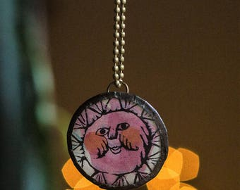 Storybook Charm Necklace - Pink Smiling Sun