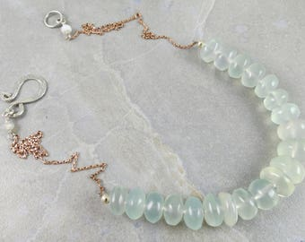 Chalcedony And Rose Gold Necklace