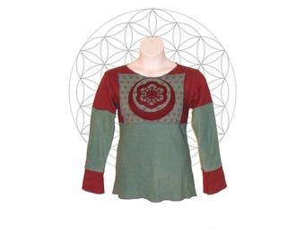 Organic Shirts -Ready to ship in Size Large - Organic Cotton and Hemp Terry cloth Long Sleeve Sacred Geometry print Sweatshirt -