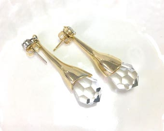 Vintage Crystal Drop Gold Earrings