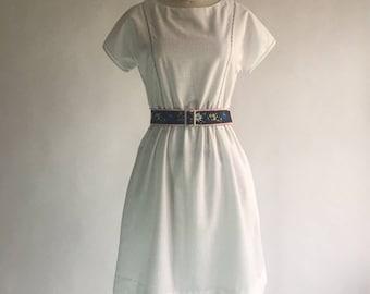 Vintage Lanz Originals White Linen Dress